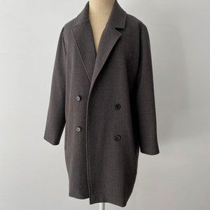 Grey Double Breasted Long Blazer